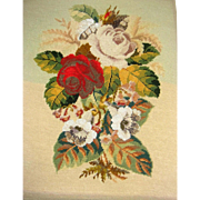 Wool work and bead work pictureof roses for framing