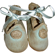 Delightful pair of blue cloth shoes for larger doll