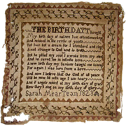 Early sampler by Sarah Meartean dated 1823