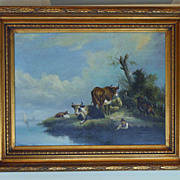 SOLD Vintage 20th Century Pastoral Oil On Canvas