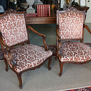 SOLD Vintage Pair of Louis XV Style French Walnut Chairs