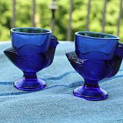 SOLD Set  2 French Vintage Cobalt Rooster Egg Cups