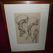 Francis de Erdely Pen & Ink Drawing - Untitled - ca. 1940's-50's