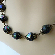 Vintage Glass and Foil Bead Necklace - Handmade - ca.1920's-30's