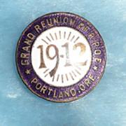 B.P.O.Elks Grand Reunion Portland, Oregon Enamel Pin - ca. 1900-1912