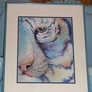 'Tiger' - Original Watercolor by Marcia M. Smith - ca. 1990