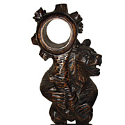 Black Forest Bear Table Clock Stand Figure Sculpture.
