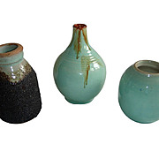 Japanese Studio Pottery Celadon Glaze Ceramic Vase Bottle.