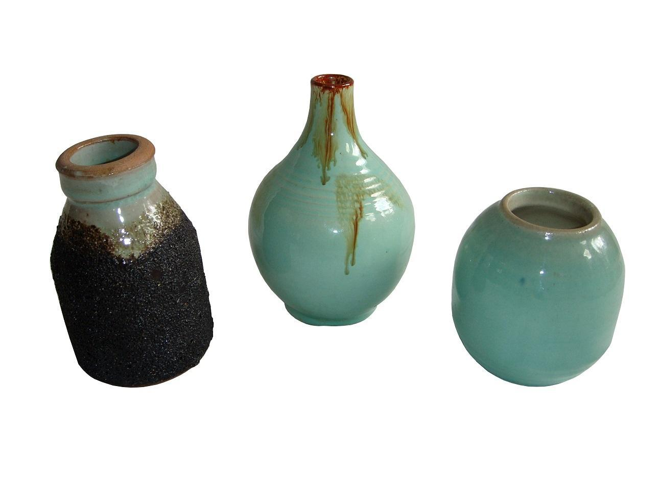 Japanese Studio Pottery Celadon Glaze Ceramic Vase Bottle