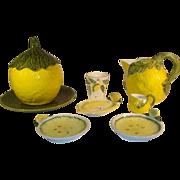 Italian Majolica Bassano Lemon Pottery Set, Pitcher Cookies Yar Dish Mug.
