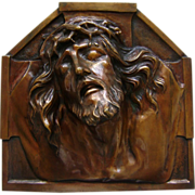 Religious Bronze Plaque Holy Jesus Christ by Sylvian Norga Wall Hanging Relief  Bust.