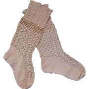 SOLD Beautiful Antique French Knitted Stockings circa 1880's for JUMEAU, BRU other French Doll