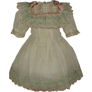 Wonderful Antique French Hand Embroidered Muslin Bebe Dress for JUMEAU, BRU other French Doll