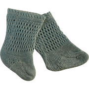 SOLD Beautiful Tiny Antique Original French Aqua Open Weave Cotton Socks for JUMEAU, BRU, STEI
