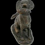 SOLD Vintage Bronze Retriever Dog With Bird