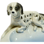 Fr. Pfeffer Porcelain Sporting Dog Trinket Dish Germany ca. 1900-1934