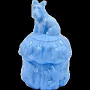 SALE Vintage Akro Agate Blue Slag Glass Scottie Dog Powder Jar