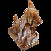 "SOLD Chocolate Slag Glass Scottish Terrier ""ALIG"" Arthur Lorch 1981-1983"