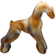 SOLD Imperial Glass Heisey Mold Caramel Slag Champion Airedale Terrier Dog c. 1969 - 1973