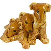 """Royal Haeger """"Bunch O' Collie Pups"""" Amber Glaze c. mid-1940's"""