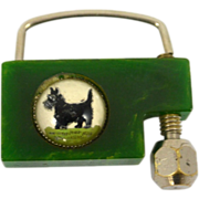 SOLD Vintage Green Bakelite Lock With Scottie Dog