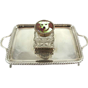 REDUCED Antique Sterling Silver Inkwell Tray and Inkwell with Enamel Dog Portrait Lid