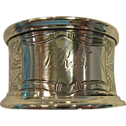 SALE Ornate, Greek Key, Engraved Sterling Silver Napkin Ring