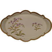 SALE Ornate Bisque Porcelain Hand-Painted Dresser Tray, Floral with Beaded Edge and Gold Trim