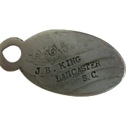 SALE EXTREMELY RARE, Freemason's Key Fob, Name Tag, Dog Tag, CHARM, SOUTH CAROLINA