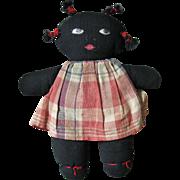 SALE Antique, Hand Made Folk Art Black Americana Rag Doll