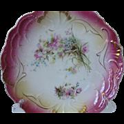 SALE Very Rare, Antique Hand-Painted Porcelain  Bavarian Cake Plate, Circa 1886