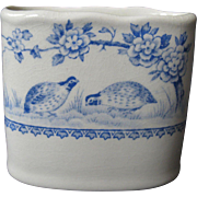 "SALE Antique, Furnivals, ""Blue Quail"" English Porcelain Cigarette Holder, circa 1913"
