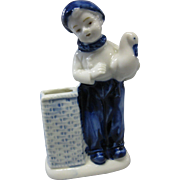 SALE Rare, Early, Delft Dutch Boy Tooth Brush Holder, Porcelain