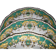 REDUCED Antique Set of 3 Ornate Copeland China Cabinet Plates, Green with Jeweled, Raised Gold
