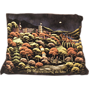 Antique Embroidery - Hand Made Black Velvet Pillow with Scene