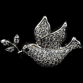 18k Gold, Sterling Silver & Diamond Pin - Dove - w/ appraisal