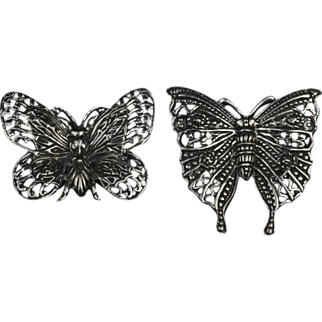 Pair of Sterling Silver Solid & Filigree Butterfly Pins