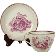 Pink Lustre Decorated Cup and Saucer, Faith Hope and Charity, C 1815