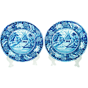 Pair of John Hall Blue and White Transfer Printed Plates, 1820's