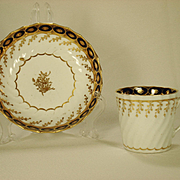 Chamberlain Worcester Porcelain Coffee Can and Saucer  1790's
