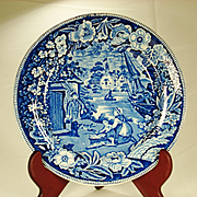 Pearlware Fisherman's Hut Transferprinted Blue and White Plate  1820's