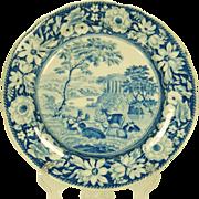 Rogers Transferprinted Plate, Deer and Folly 1820's