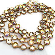 Rare Vintage CHANEL Crystal AB Runway Sautoir  Statement Necklace