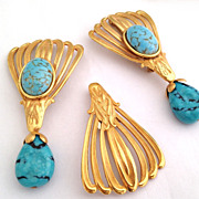 Vintage Miriam Haskell Art Glass Turquoise trio pin / brooch set , 3pcs