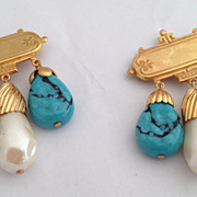 Vintage Miriam Haskell Art Glass Turquoise & Glass Baroque Pearl RGP Duet Pin Brooches 2pcs