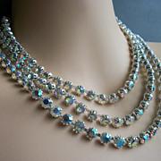 Vintage Crystal AB Rhinestone Designer Necklace