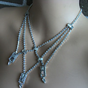 1950s Vintage Designer Art Deco Rhinestone Necklace Kramer