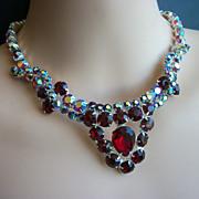 Vintage designer Siam AB Red Rhinestone Necklace 1950s Schreiner