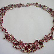 1950s Vintage designer Siam Red Princess Necklace unsigned Sherman
