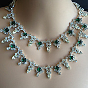 Vintage Designer Rhinestone and Art Glass Emerald double line Necklace